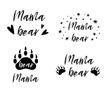 Mama bear text collection. Black paw symbol. Simple mama bear set. cute mothers, baby icon, logo. Kids nursery wall art poster, Cloth print. Vector illustration. Mothers day. Wild hiking vacation.