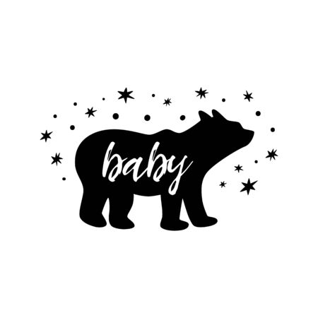 Baby bear with stars. Cute little black baby bear print for kids cloths, t-shirt. Forest, wild symbol. Simple bear silhouette for kids room wall art, nursery poster, fabric decor. Vector illustration.