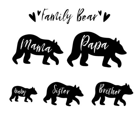 Family bear Mama bear, papa, sister, brother, baby bear set. Family clip art. Simple bear silhouette for kids textile, clothes, apparel, invitations, cards, cute t-shirt design. Vector illustration.
