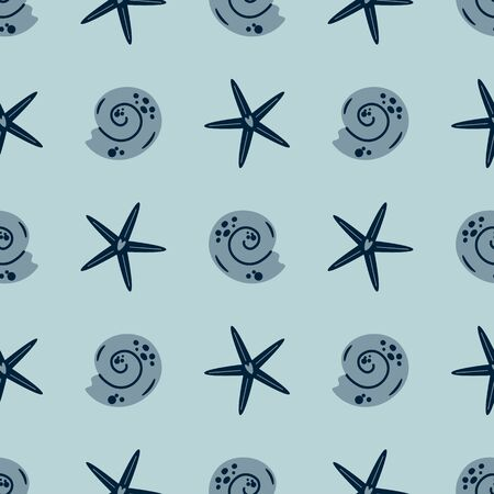 Starfish seamless pattern. Summer sea star pattern, cute seashell grey background. Nautical baby textile design. Aquatic kids pattern. Ocean vacation graphic design Fabric apparel vector illustration. 写真素材 - 147365485