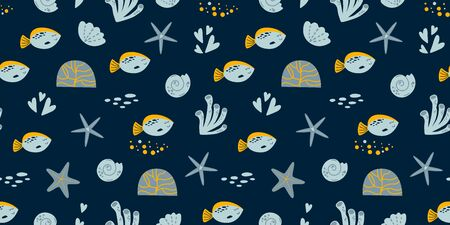 Sea boy pattern. Dark blue kids fish seamless pattern. Summer vacation background. Corals, seashells, fish elements Hand Drawn texture, marine theme design. Cute baby cloth print. Vector illustration.  イラスト・ベクター素材