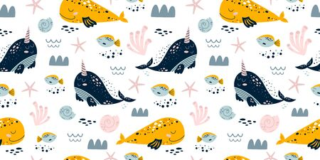 Sweet whales. Baby sea pattern seamless. Whale illustration kids. Boy and girl sea pattern, nautical background. Cute sea animals, whales narwhal fish coral. Kids textile, cloth. Vector illustration.
