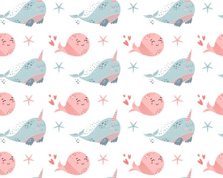 Pink whale pattern. Cute background with cartoon sea animals. Baby shower design. Funny whales. Kids nautical for wallpapers, pattern fills, backgrounds, surface textures. Vector illustration.