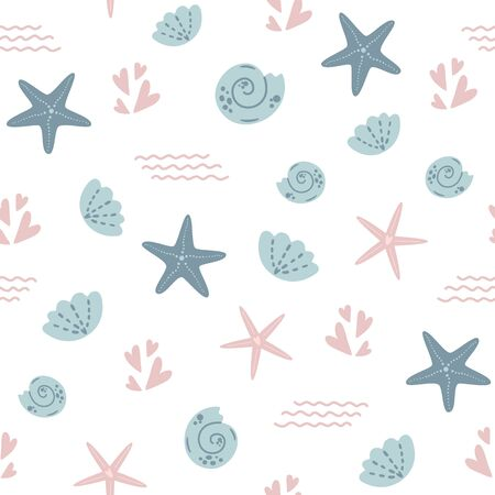 Starfish seamless pattern. Summer sea star pattern, cute seashell light background Nautical baby textile design. Aquatic kids pattern. Ocean vacation graphic design Fabric apparel vector illustration.  イラスト・ベクター素材
