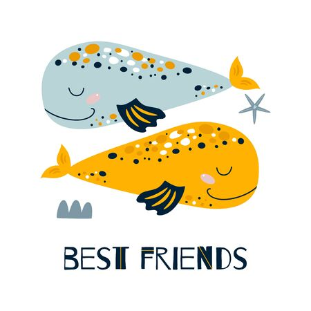 Best Friends text with two cute whales. Friendship day card. Inspirational quote design. Cute sea animals poster isolated on white. Drawing for baby prints on tshirt, bag, cloth. Vector illustration. 일러스트