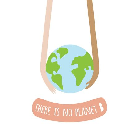 Hand holding earth. Planet care concept. Earth day graphic element. Planet with hands. Ecology symbol. Stop pollution. No plastic. Go green. vector illustration. Save nature template for card, poster.