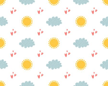 Nursery clouds seamless pattern. Cute kids clouds, sun and heart. Hand drawn repeat background, baby textile wallpaper cloth design vector illustration. Sunny weather yellow suns, grey clouds pattern.