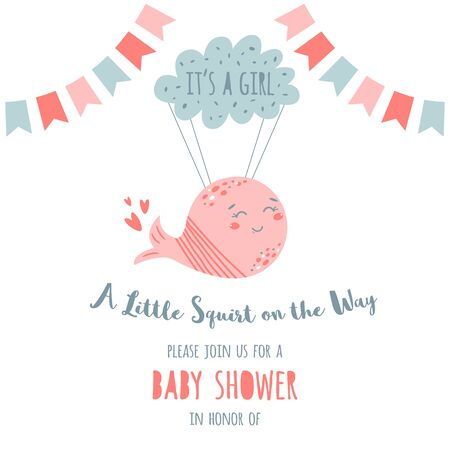 Its a girl baby shower invitation card Cute pink whale flying on the cloud. Kids birthday party template. Baby Shower element. Sweet baby girl party decoration. Hand drawn vector Illustration. 일러스트