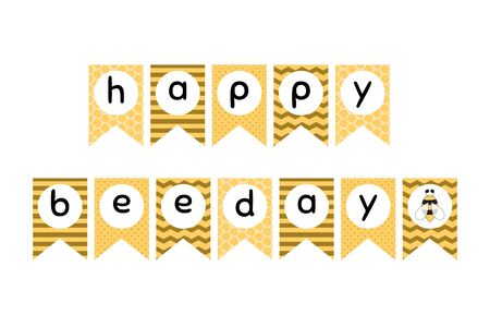 Happy Bee Day flags. Honey Bee party decoration graphic elements. Sweet honey kids birthday party decor. Sweet Baby garland for girls and boys. Bunting flags. Cut Vector illustration.