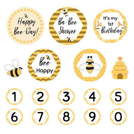 Happy Bee Day cupcakes toppers set. Hony Bee party decoration graphic elements. Sweet honey kids birthday party decor. Sweet Baby cards girls and boys in cute yellow bee color Cut Vector illustration.