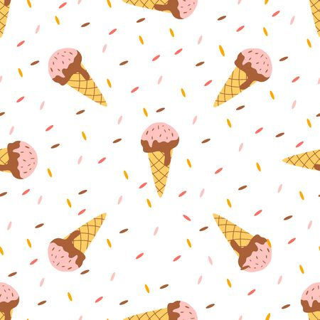 Twisted ice cream cone. Stylized ice cream seamless pattern. Summer sweet dessert background with drops. Sweet dessert wrapper with drops. Cute ice cone pastel background, print. Vector illustration.