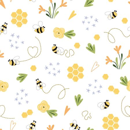 Bee honey pattern Bee seamless pattern Cute hand drawn summer meadow flowers, bee honeycombe background Hand drawn honey templates. Kids fabric design. Summer illustration. Yellow white colors.