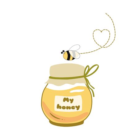 Honey jar  . Flaying bee. Cute yellow Honey pot. Bee Text My honey Icon sticker  Hand drawn varieties beekeeping element isolated on white. Cartoon yellow illustration. 写真素材
