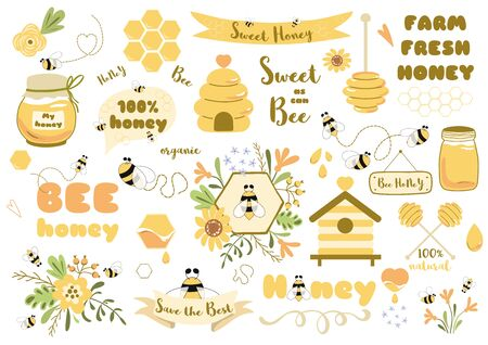 Bees set Cute honey clipart Hand drawn bee honey elements Hive honeycomb pot spoon beekeeping Text phrases in ribbon wreath Floral bee bouquet. Sticker tag icon  Honey design kit illustration.