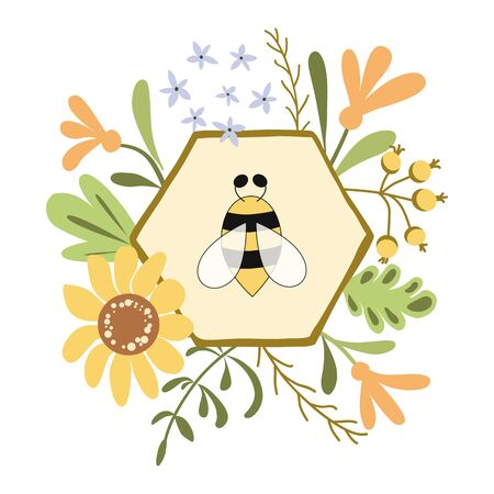 Honeycomb bee floral wreath print Cute hand drawn template label Yellow flowers herbs. Layout design for honey, cosmetic shop natural organic products. Organic plant background. Bee  illustration.