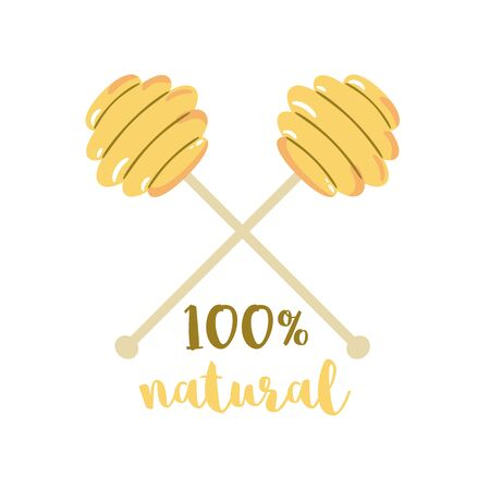 Honey dipper Spoon honey text 100 natural honey Bee product  icon sticer Draw for banner, card. Cute beekeeping hand drawn cartoon element. Yellow color. Eco natural food illustration. 写真素材