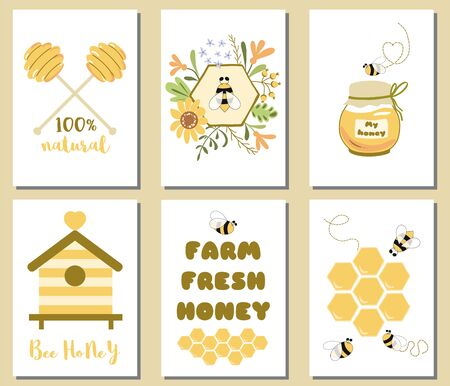 Bee honey set Cute card templates Honey jar, floral bee honeycomb, text, hive, honey spoon banner. Organic collection. Hand drawn yellow illustrations. Phrase Farm fresh honey set.