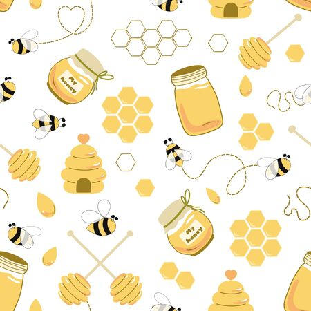 Bee honey seamless pattern Honey yellow template Beekeeping background Honey jar, house, spoon, fly bee, drops, honeycomb Cute hand drawn sweet natural honey background templates. Yellow illustration.