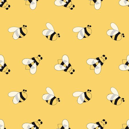 Bees seamless pattern. Yellow insects background. Decorative colored hand drawn wallpaper. Bee printable design. Hand drawn overlapping background, beekeeping. Design illustration. Simple yellow paper