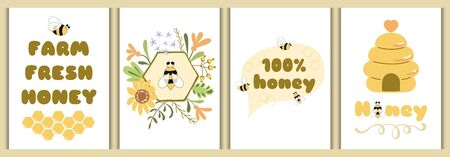 Honey poster set. Bee typography banners collection. Honey bee cards design template. Hive bee floral frame flowers honeycomb thought. Text Farm fresh honey Organic. Printable yellow illustration.