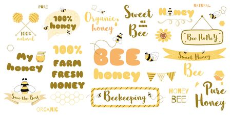 Honey text set bee words phrases Typography quotes yellow honeycomb frames ribbon thought heading. Cute hand drawn sweet design elements. Beekeeping. Sweet honey set illustration. Honey collection. 스톡 콘텐츠