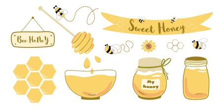 Honey jar set Bee honey bowl wooden spoon wildflowers glass jars with honey, drops. Text sweet honey on ribbon. Yellow healthy food design elements isolated on white. Sweet honey illustration. 写真素材 - 147081110