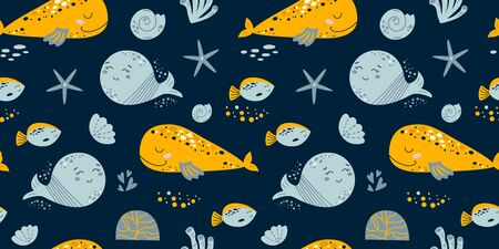 Baby sea seamless pattern. Kids sea pattern. Cute whales, fish on dark blue background. Boy nautical childish ocean texture for fabric, textile, apparel. Nautical underwater life vector illustration.  イラスト・ベクター素材