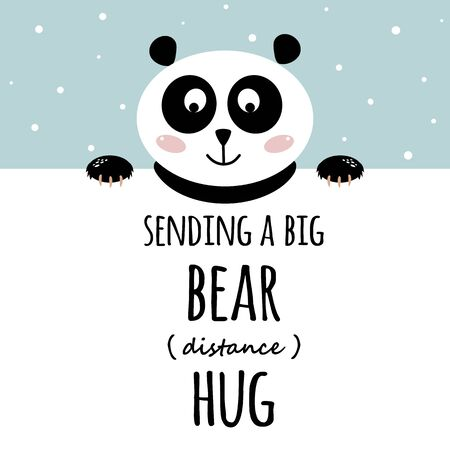 Sending a Big Bear Hug. Social distance hugs text. Congratultions from quarantaine and social isolation time with cute panda. Animal. Funny art banner. Embraces illustration.