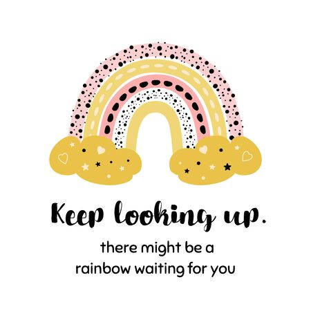Stay positive card with Rainbow. Sending hug from social distance printable card. Hug you and miss you quarantine phrase. Social distancing lettering quote. Get well. Hand drawn vector illustration.