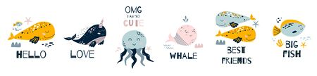 Nursery art Nursery poster Cute sea animals set. Funny whales, big fish, jellyfish and quotes. Posters for baby room, greeting cards, kids and baby t-shirts and wear, hand drawn vector illustration.  イラスト・ベクター素材