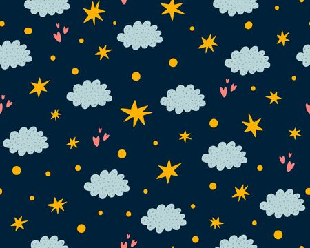 Nursery stars pattern. Night sky background. Cute childish stars, clouds seamless background. Baby print, texture baby star, dark nursery sleepy wallpaper. Hand drawing star cloud vector illustration.  イラスト・ベクター素材