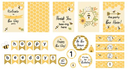 Bee party set. Sweet bee day card templates for baby shower, kids party, birthday, children event. Welcome, thank you. Bee day garland, cupcake toppers. Cute printable bee banner. Vector illustration.