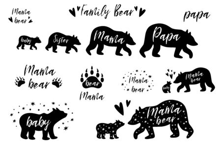 Bear Family bundle set. Papa, Mama bear, Sister Baby bear black shapes. Cute bear prints. Pharses with paw. Cute wildlife animals great for mothers, fathers day elements. Vector illustration.