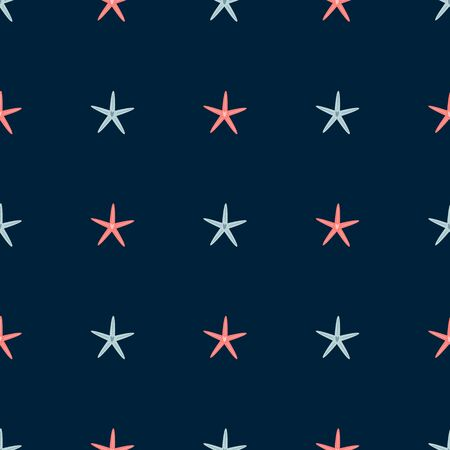 Pink grey star baby seamless pattern in dark blue colors. Summer starfish sea animals. Simple vacation background. Male textile design. Vector illustration for man fabric cloth design wallpaper, wrap.