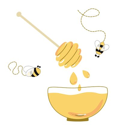 Honey bowl, cute bee, wooden dipper, honey drops isolated on white background. Cartoon hand drawn beekeeping, apiary illustration. Yellow colors.
