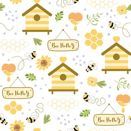 Bee honey seamless pattern Beekeeping background. Cute hand drawn beehive bee flowers index heart Sweet natural honey yellow pattern. Summer template. Organic product. Cute illustration.