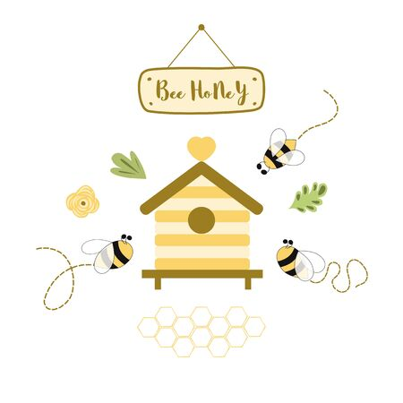 Bee honey Honey label design. Concept for organic honey products, package design. Cute yellow beehive text. Print flowers decor honeycomb Hand drawn cartoon style House Beekeeping Summer illustration. 写真素材 - 148165827