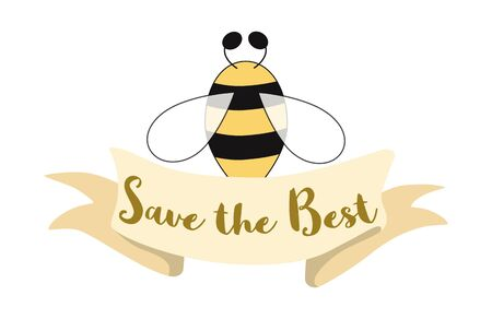 Bee honey label design Concept for organic honey products, package design Ribbon with text Save the best