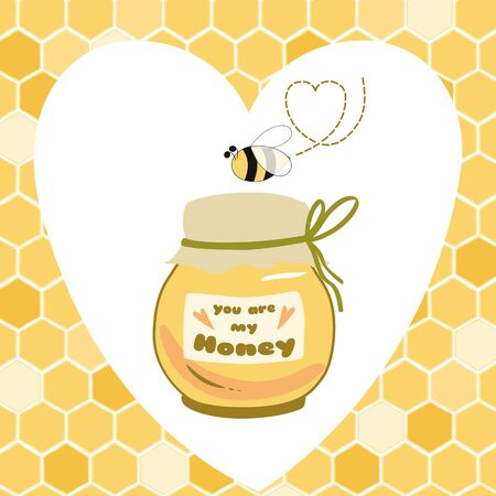My honey banner Honey jar Cute poster for Bee party birthday kids St Valentines day Yellow Bee love