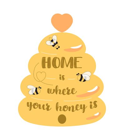 Bee kitchen sign, beehive home welcome sign decor. Cute honey symbol bees Home is where your honey is text. Welcome home quote. Beekeeping, apiary label. Vector illustration. Hand drawn cartoon style.  イラスト・ベクター素材