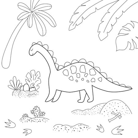 Dinosaur coloring page. Cute cartoon dinosaur and his nest with little dino. Black and white vector illustration for coloring book. Dino mam and baby into jungle. Dinosaurs activity.