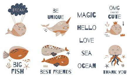 Kids whale illustration. Baby ocean animal set. Cute cute water animals. Cute baby quotes. Posters baby room Vector cartoon kit. Sea whale, narwhal character. Text Dream Hello Thank you Best friends.