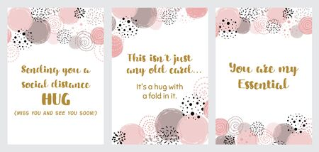 Sending hug from social distance printable card set Pink circle shapes decoration. Hug you and miss you quarantine phrase. Social distancing lettering quote. Hand drawn illustration. Collection. 写真素材