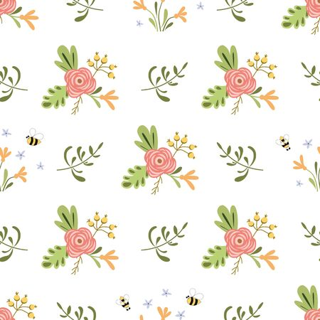Blooming floral summer seamless pattern Insects Bee pink flowers Bright colors Summer floral background 写真素材 - 148165395