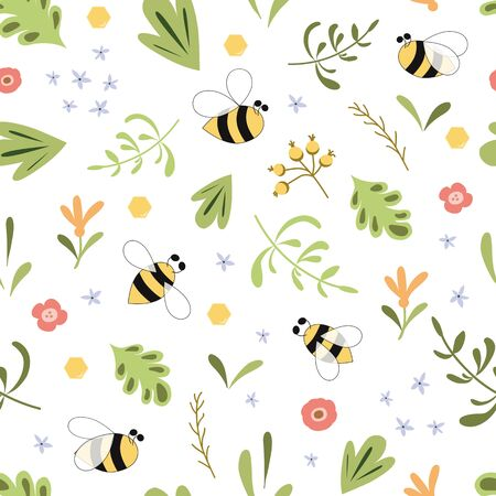 Herbal seamless pattern with insects bee Green herb background Nature organic design botany Bee animals