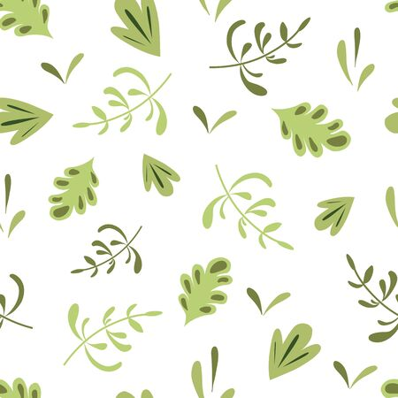 Herbal seamless pattern Green herb background Nature organic design Hand painted leaves Botanical paper 写真素材