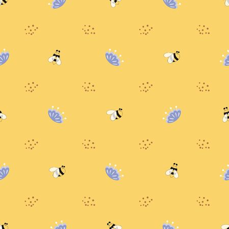 Yellow pattern Flowers insects background Cute simple texture Bee flowers Paper textile seamless design