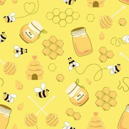 Beekeeping apiary Bee honey seamless pattern Honey yellow template Beekeeping background Honey jar house spoon