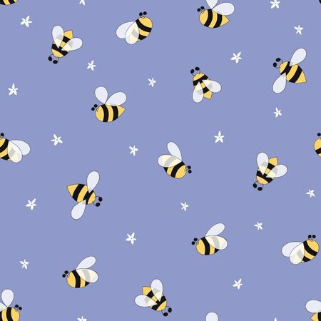 Flowers insects pattern seamless Cute summer flying bee on blue background Bee simple texture Textile design 写真素材