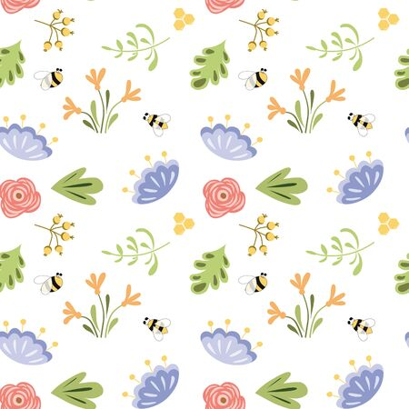 Cute floral summer seamless pattern Insects Bee blooming flowers Bright wildlife colors Summer botany background 写真素材